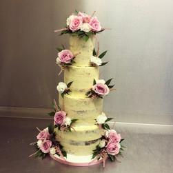 4 tier semi naked wedding cake