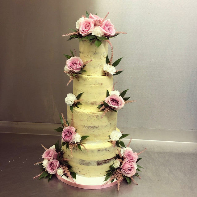 4 tier semi naked wedding cake