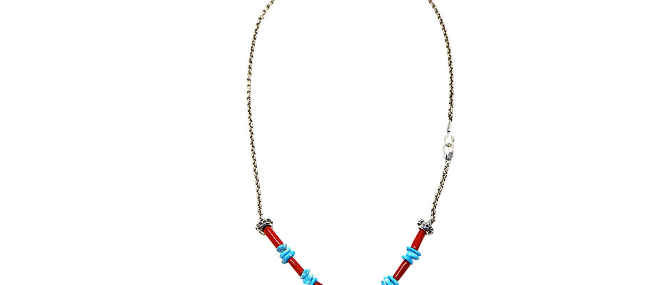 DOUBLE ARROW CLASP CHAIN WITH RED CORAL TURQUOISE-2(26Inches)