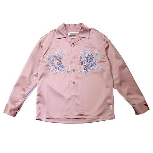 Palm tree Tiger embroidery shirts / PINK