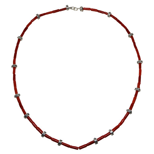 RED CORAL / HOLLOW STAR RONDELLE BEAD CHAIN WITH DOUBLE ARROW CLASP(32 Inches)