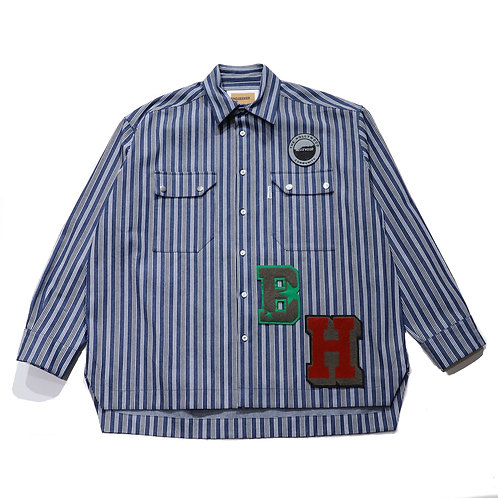 Overfit Embroidery stripe denim shirt / NAVY