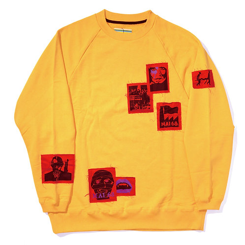 Oversized Patched Sweat Shirt / Yellow