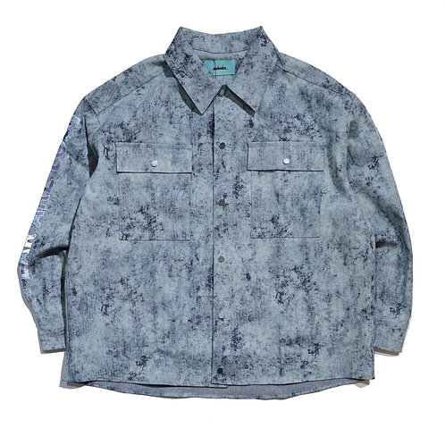 MANE Bleach Indigo Denim Long Sleeve Shirt