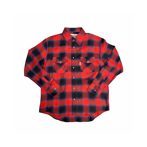 Rayon ombre check shirt / RED