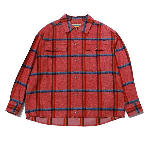 MANE Rainbow Check LongSleeve Shirt / RED
