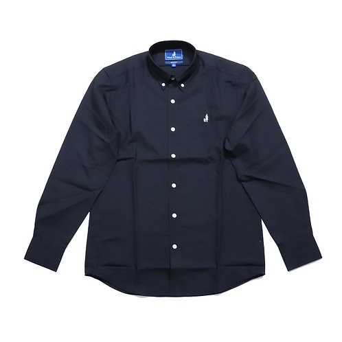Wool & Prince / BUTTON-DOWN  SOLID BLACK