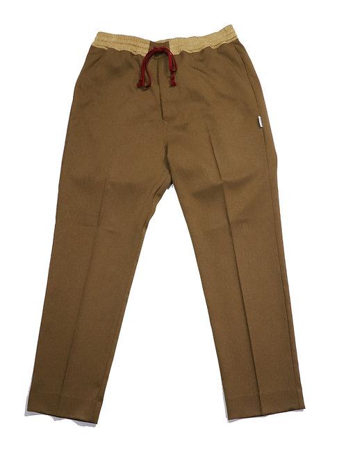 draw string slacks pants / BROWN