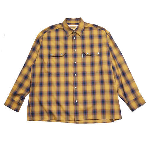 over fit Oxford check shirt / BROWN