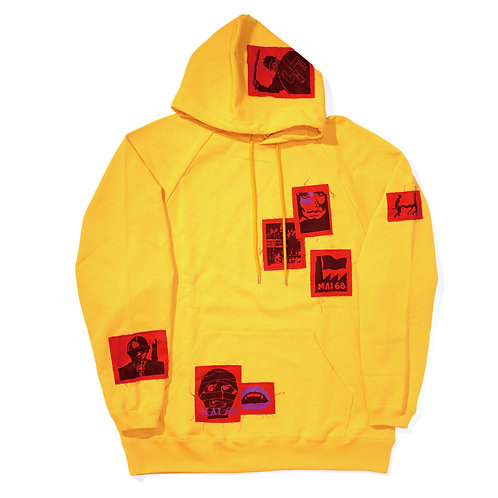 Oversized Ragian Patched Hoodie / Yellow