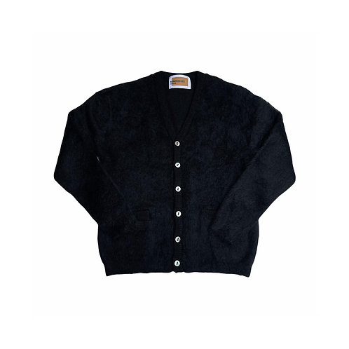 Shaggy mohair cardigan / BLACK
