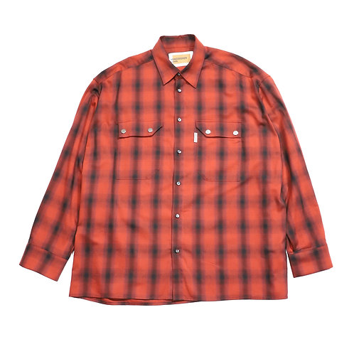 over fit Oxford check shirt / RED
