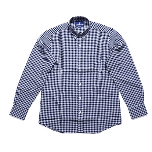 Wool & Prince / BUTTON-DOWN  Navy And Gray Gingham