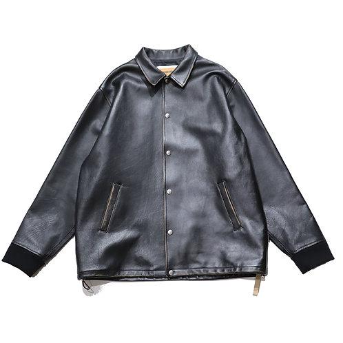 Overfit patchlogo leather coach jacket