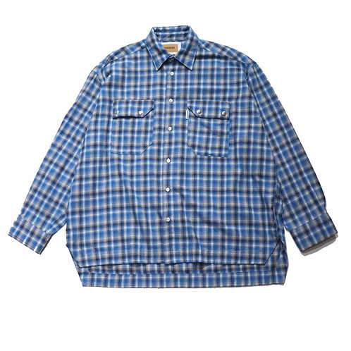 Overfit check flannel shirt / BLUE