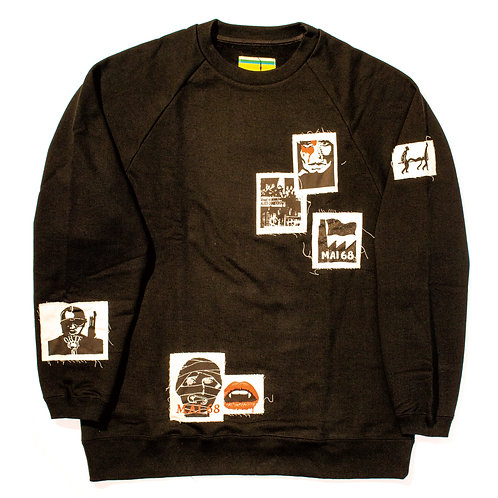 Oversized Patched Sweat Shirt / Black