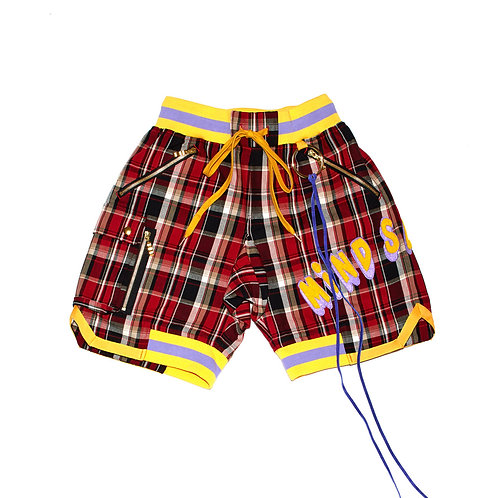 Check Patch Shorts / RED