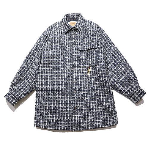 Reluxfit embroidery logo tweedshirtsjacket / BLK×WH