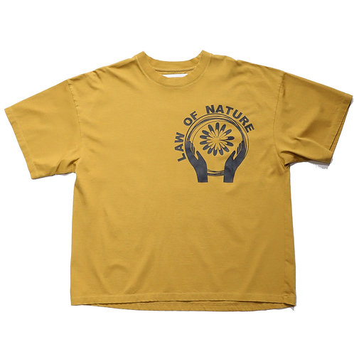 "Loose fit ""LAW of NATURE"" TEE / BROWN"