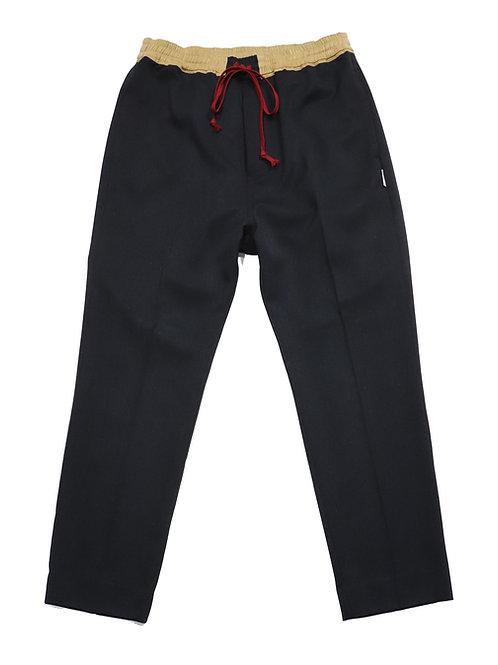 draw string slacks pants / BLACK