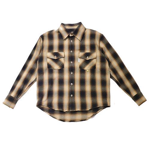 Regular fit Heavy cotton check shirts / BROWN
