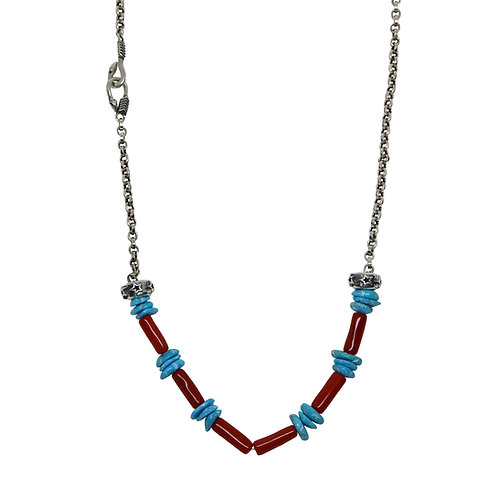 DOUBLE ARROW CLASP CHAIN WITH RED CORAL / TURQUOISE-1(24 Inch)