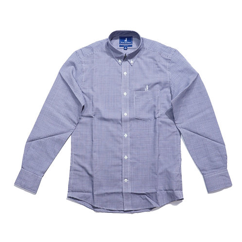 Wool & Prince / BUTTON-DOWN NAVY CHECK