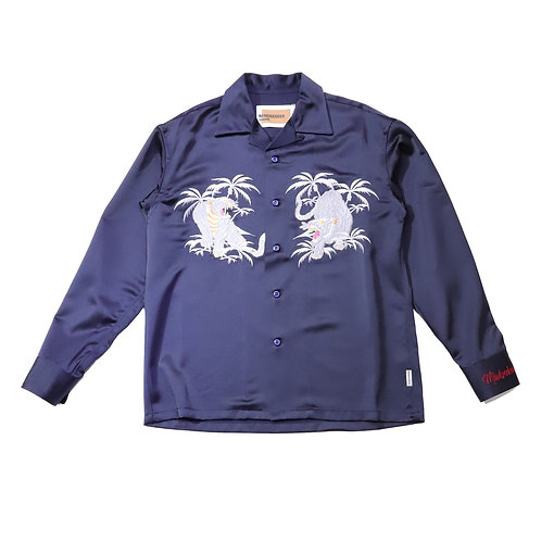 Palm tree Tiger embroidery shirts / NAVY