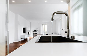 modern kitchen interiors in the foregrou