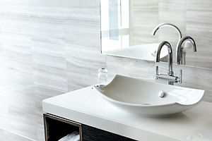 Luxury white porcelain sink on a bathroo