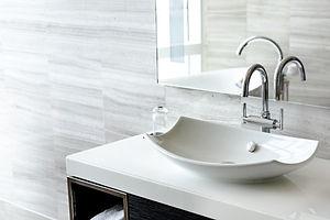 Luxury white porcelain sink on a bathroo