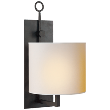 Iron wall sconce with shade