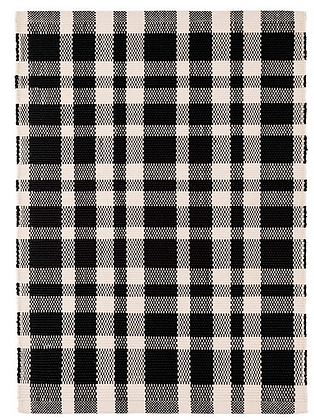 Black Plaid Indoor/Outdoor Rug
