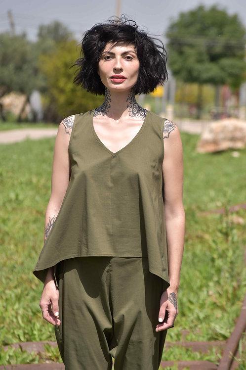 "Olive Sleeveless Shirt ""Paris"""