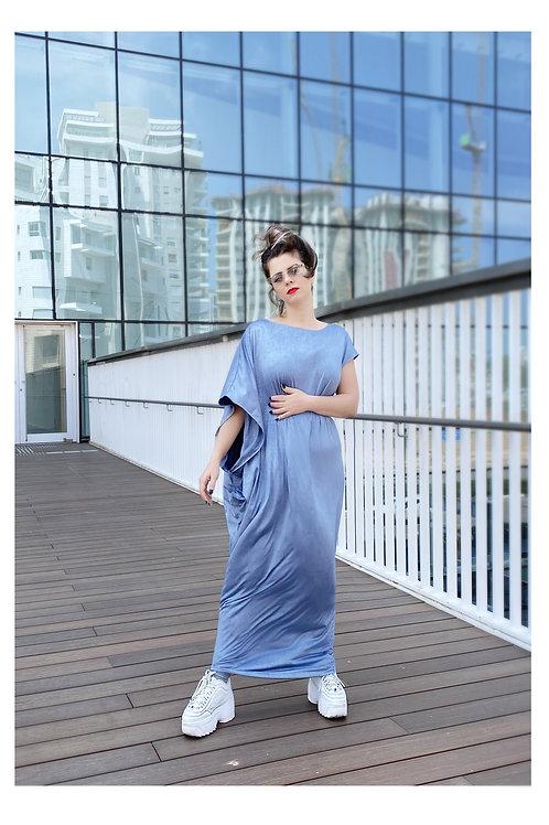 """Asymmetrical Denim Color Toga Dress """"Venus"""""""