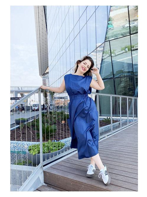"Blue Midi Dress with Pockets ""Kiss Me"""