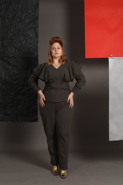 Olive Twin Set - Shirt and Trousers