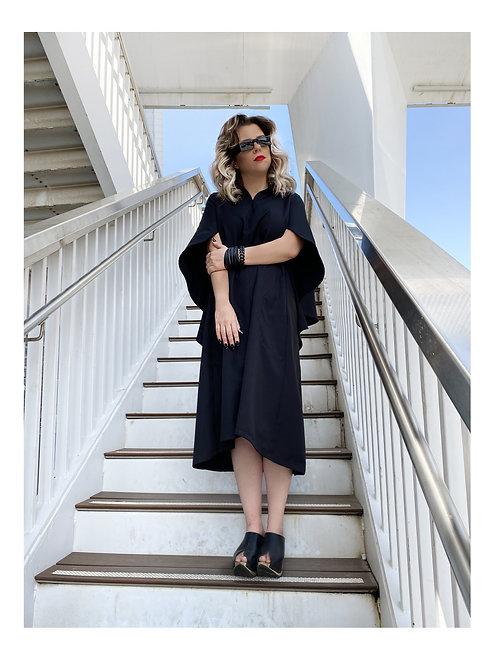 """Black Cape-Like Sleeves Midi Dress """"Luna"""""""