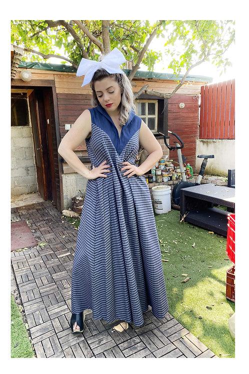 "Sleevless Denim Maxi Slots Dress ""Armageddon"""