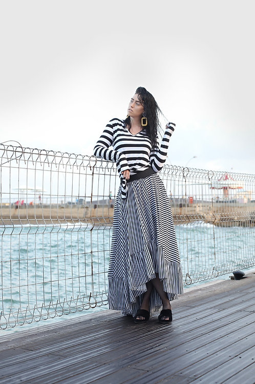 "Black and White Stripes Skirt ""Beetlejuice"""
