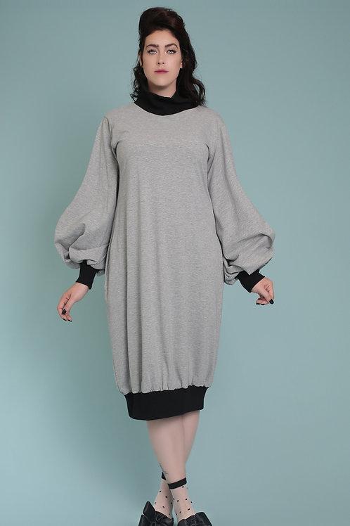 "Grey Melange Turtle-Neck Dress ""Angie"""
