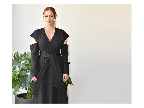 "Black and White Stripes Maxi Dress ""Typhoon"""