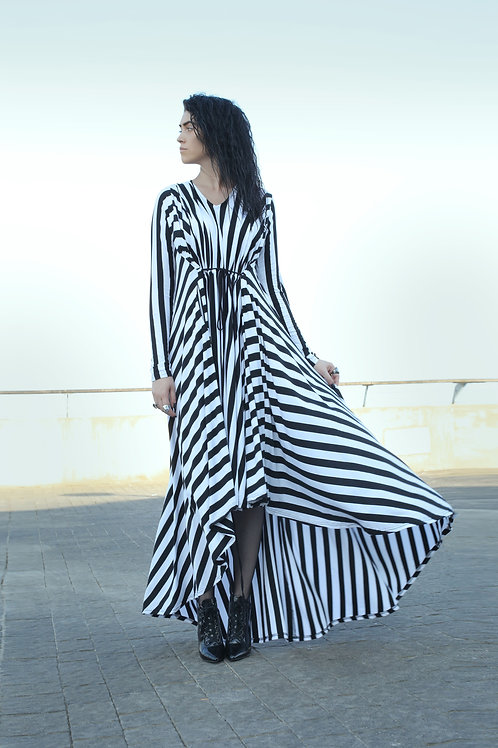 "Black and White Stripes Cloche ""Tornado"" Dress"