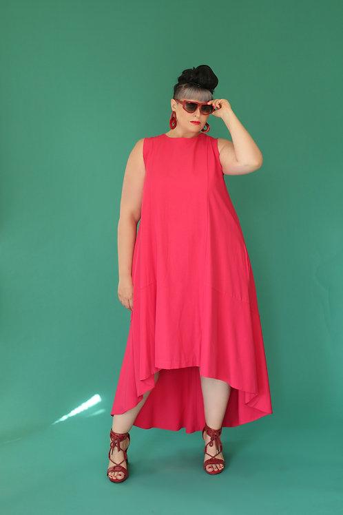 "Fuchsia High and Low Dress ""Strawbaberry"""