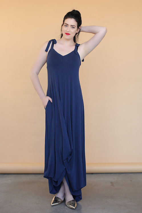 """Shoulder Strap String Blue Navy """"Beverly"""" Dress"""