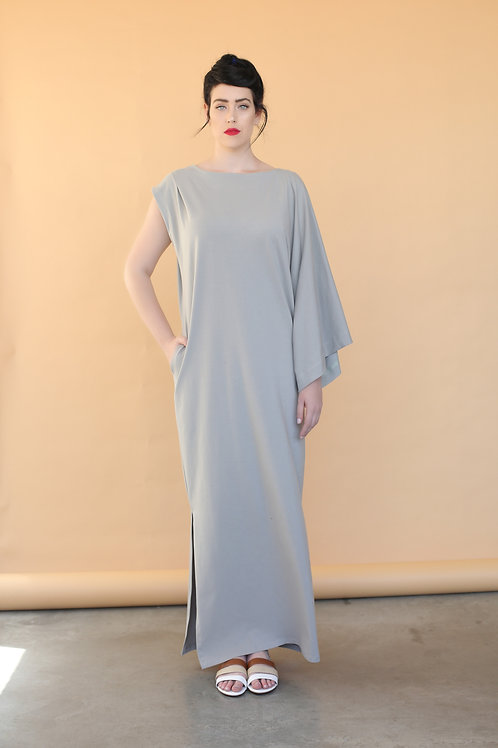 "Light Grey One-Sleeve ""Batwoman"" Dress"