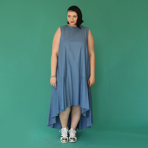 "Jeans High and Low Dress ""Blueberry Mazi"""