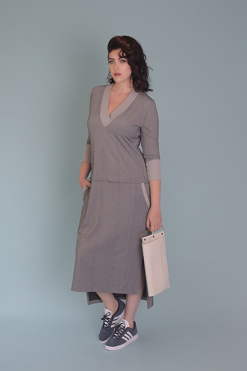 "Grey V-Neck Dress ""Sexy Sadie"""