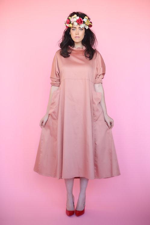 """Rose-Pink Turtleneck Dress """"Roza"""""""