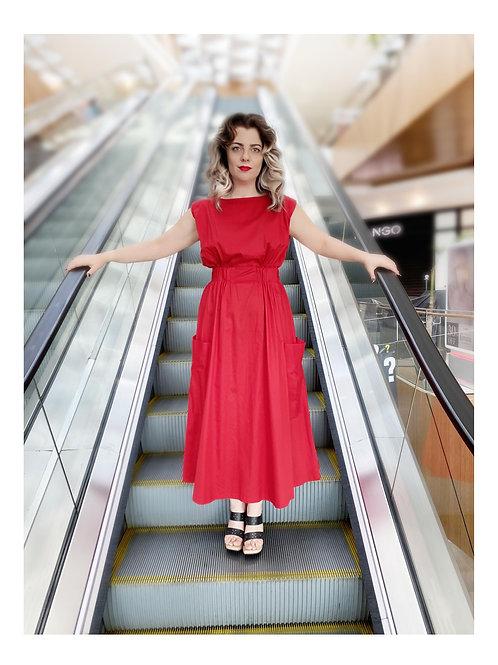 "Red Midi Dress with Pockets ""Kiss Me"""